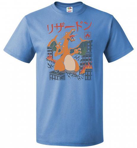 Fire Kaiju Unisex T-Shirt Pop Culture Graphic Tee (3XL/Columbia Blue) Humor Funny Ner