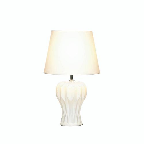 *18020U - Abstract Curved White Ceramic Base Table Lamp w/Shade