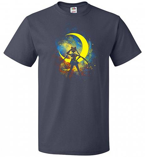 Moon Art Unisex T-Shirt Pop Culture Graphic Tee (2XL/J Navy) Humor Funny Nerdy Geeky