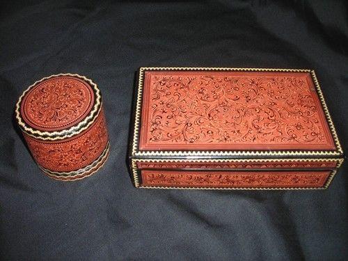 ANTIQUE BURMESE 6-pce Desk Top Box and Canister Set Vintage: 1890s