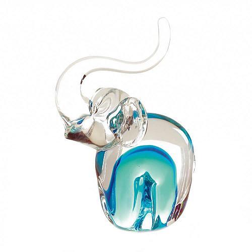 *18100U - Art Glass Blue Swirl Elephant Figurine