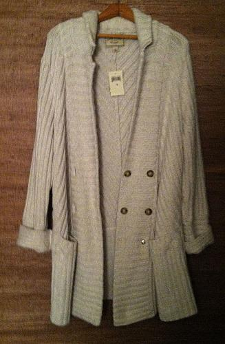 NWT`s Women`s 1X Double Breasted Sweater Coat Oatmeal