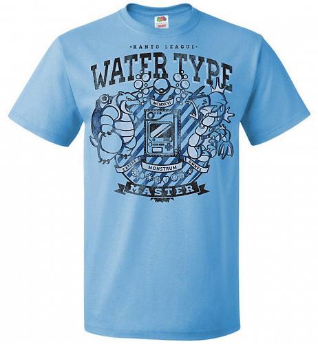 Water Type Champ Pokemon Unisex T-Shirt Pop Culture Graphic Tee (L/Aquatic Blue) Humo