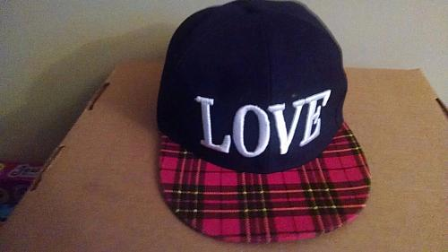 LOVE Red Plaid Print Flat Bill Baseball Hat