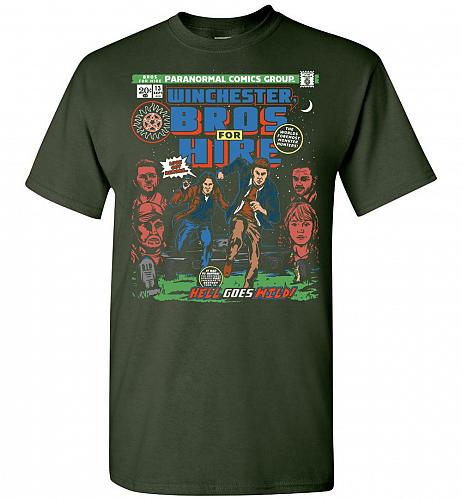 Winchester Bros For Hire Unisex T-Shirt Pop Culture Graphic Tee (4XL/Forest Green) Hu