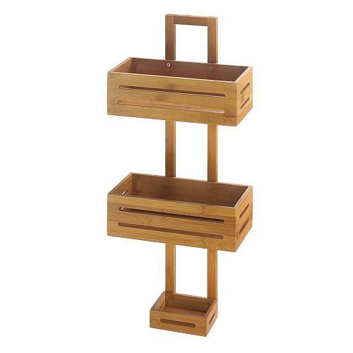 *18318U - Bamboo Brown Wood Hanging Shower Caddy Organizer