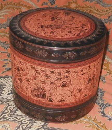ANTIQUE BURMESE ROUND LAYERED FOOD BOX or LUNCH BOX SET VINTAGE: 1890s