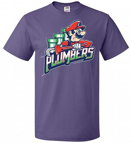 Plumbers Unisex T-Shirt Pop Culture Graphic Tee (2XL/Purple) Humor Funny Nerdy Geeky