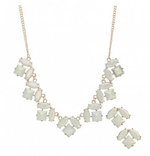 Claire's Mint Green and Gold Statement Necklace Set