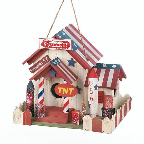 *18079U - Fireworks Stand Red White Blue Wooden Birdhouse