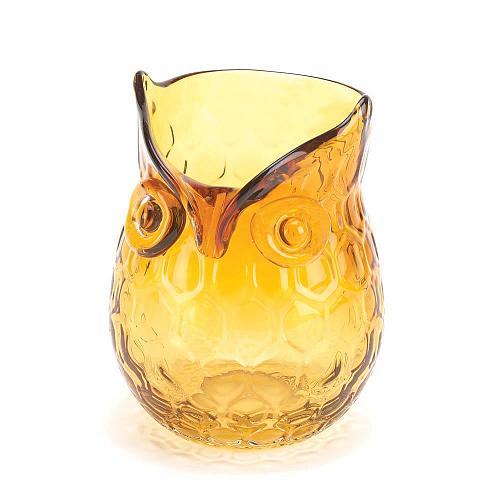 *16186U - Amber Glass Pop Owl Decorative Flower Vase