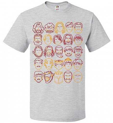 Game Of Throne Heads Minimalism Adult Unisex T-Shirt Pop Culture Graphic Tee (4XL/Ash