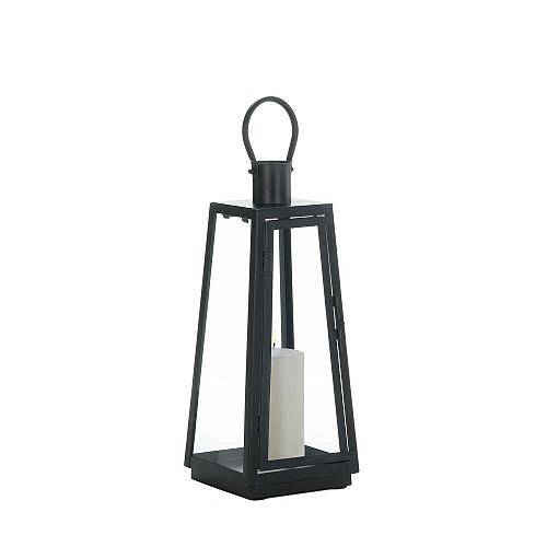 "*18349U - Medium 15.8"" Black Iron Exploration Pillar Candle Lantern"