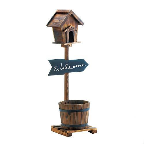 *18437U - Welcome Birdhouse Rustic Fir Wood Barrel Planter