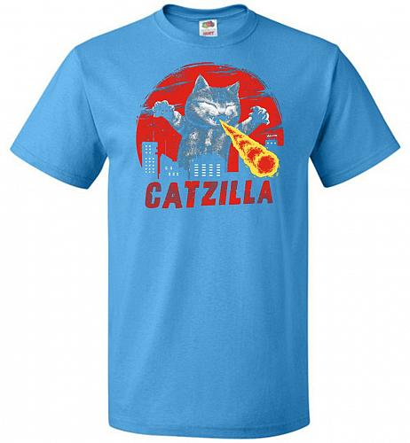 Catzilla Unisex T-Shirt Pop Culture Graphic Tee (M/Pacific Blue) Humor Funny Nerdy Ge