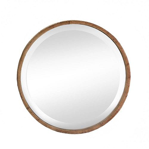 *17291U - Brown Round Wood Frame Beveled Wall Mirror
