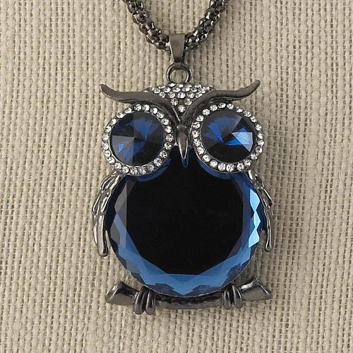 ":11021U - Blue Crystal Owl Pendant 27"" Chain Necklace"