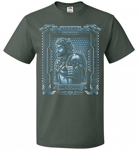 Jon Snow King Of The North Adult Unisex T-Shirt Pop Culture Graphic Tee (6XL/Forest G