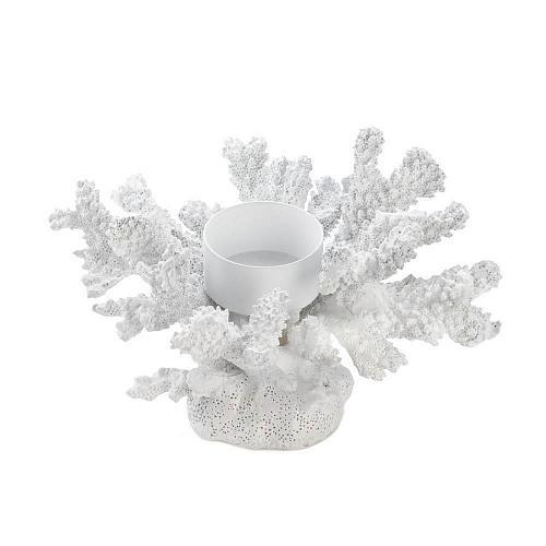 *18139U - White Coral Tea Light Iron Pedestal Candle Holder