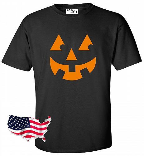Halloween T Shirt Pumpkin Face Jack O Lantern Spooky Fun Easy Costume Tee