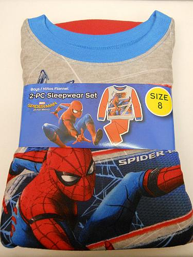 Pajama Set SPIDER-MAN Boys 2 PC Size 8 Red Flannel Crew Neck Long Sleeves Sleepw