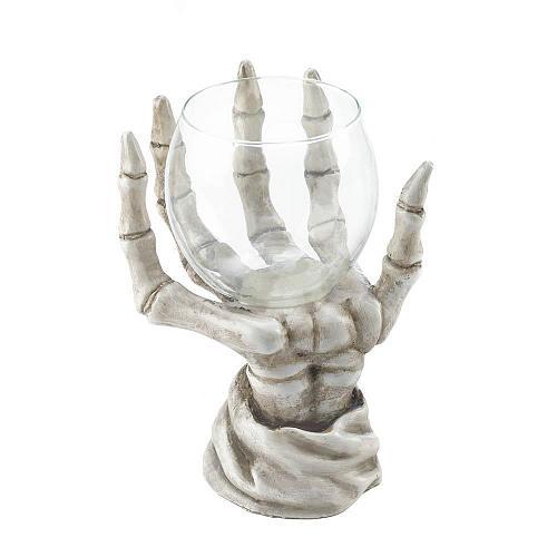 *17189U - Skeleton Hand Glass Votive Cup Candle Holder