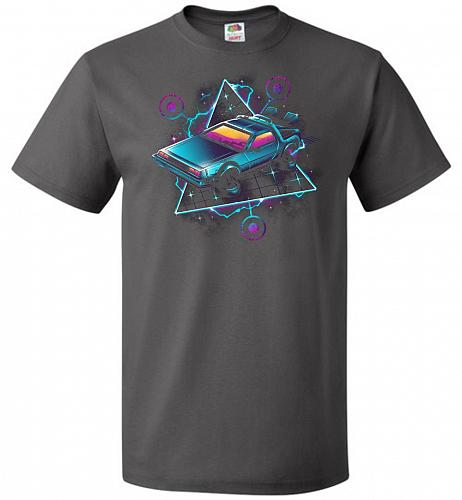 Retro Wave Time Machine Unisex T-Shirt Pop Culture Graphic Tee (3XL/Charcoal Grey) Hu