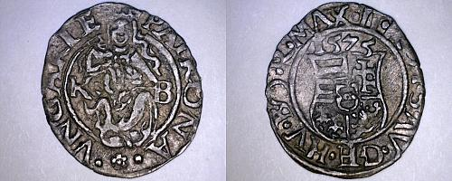 1575-KB Hungary 1 Denar World Silver Coin - Madonna with Child - Maximilian II