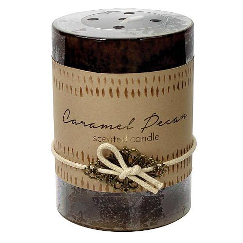 :10922U - 2ct Caramel Pecan Scented Tri-color Brown Pillar Candle 3x4 Charm