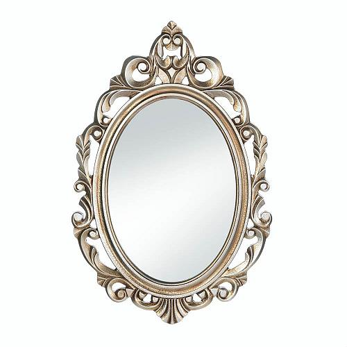 *18072U - Gold Royal Crown Wood Frame Oval Wall Mirror