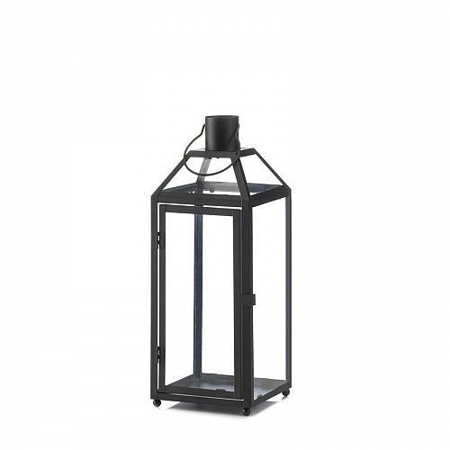 "*17437U - Midtown Medium 16 1/2"" Black Iron Pillar Candle Lantern"