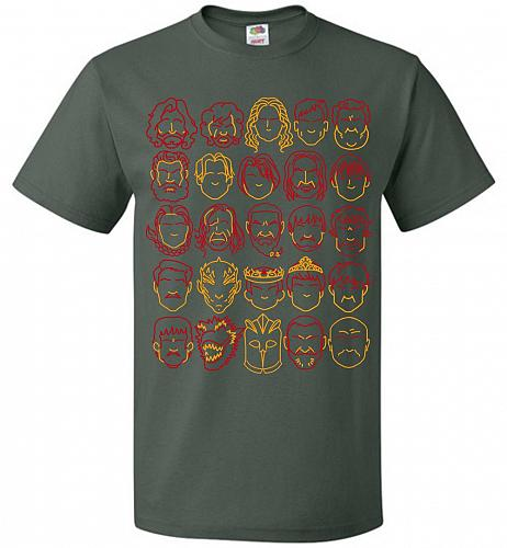 Game Of Throne Heads Minimalism Adult Unisex T-Shirt Pop Culture Graphic Tee (4XL/For