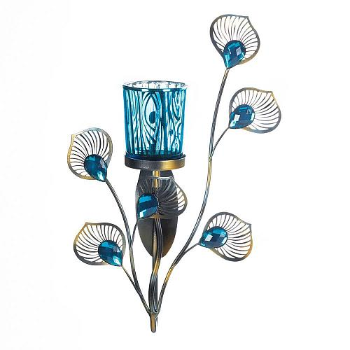 *18047U - Peacock Inspired Single Turquoise Cup Wall Sconce