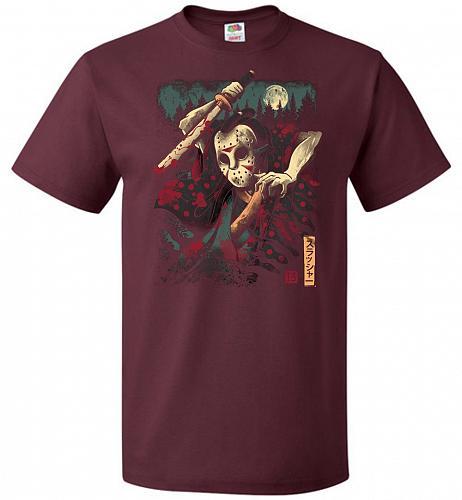 The Samurai Slasher Unisex T-Shirt Pop Culture Graphic Tee (L/Maroon) Humor Funny Ner