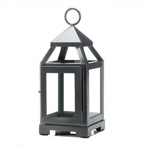 "*18084U - Silver Metal 8 3/4"" Contemporary Pillar Candle Lantern Clear Glass"