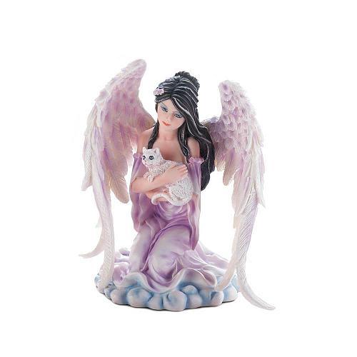 *17658U - Angel Kneeling Holding White Cat Figurine