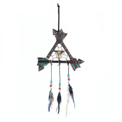 *18469U - Arrow Triangle Skull Dreamcatcher Wall Decoration