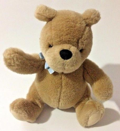 "Gund Classic Winnie the Pooh Plush Stuffed Bear Sitting 8"" Brown with Blue Bow"