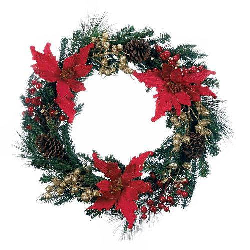 "*18113U - Faux Poinsettia 24"" Christmas Wreath Pinecones"