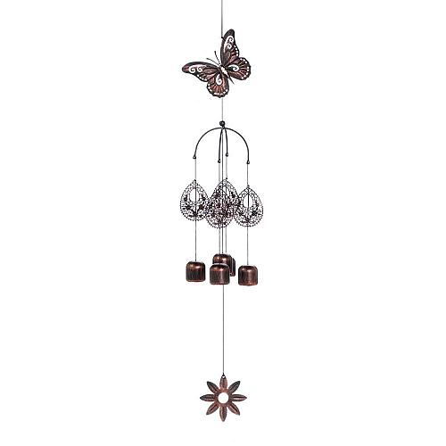 """*18221U - Burnished 27"""" Butterfly Bell Iron Wind Chimes"""