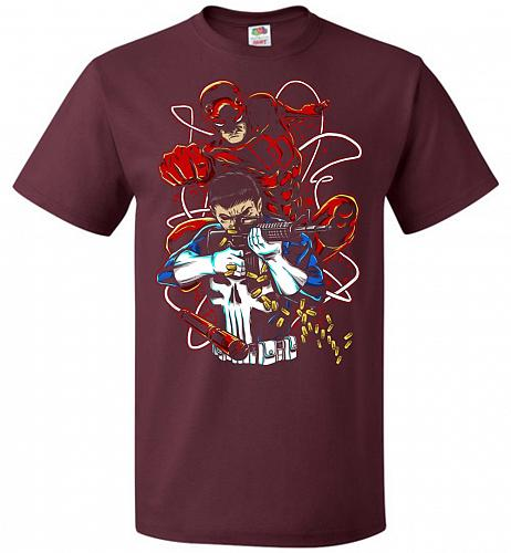 Team Up Unisex T-Shirt Pop Culture Graphic Tee (6XL/Maroon) Humor Funny Nerdy Geeky S