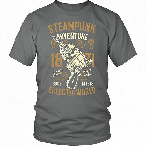Steampunk Adventure Adult Unisex T-Shirt Pop Culture Graphic Tee (Grey/District Unise