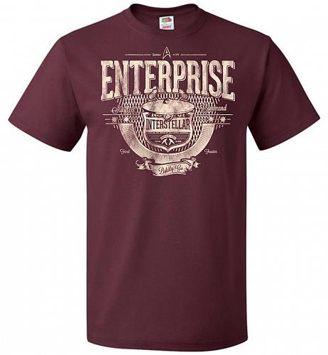 Enterprise Unisex T-Shirt Pop Culture Graphic Tee (XL/Maroon) Humor Funny Nerdy Geeky