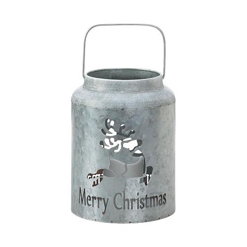 *18550U - Merry Christmas Cut-Out Reindeer Galvanized LED Candle Lantern