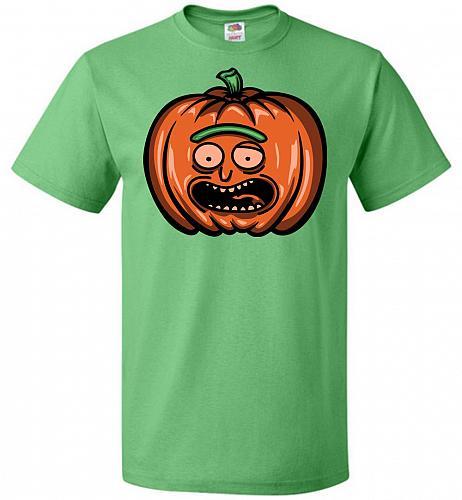 Halloween Pumpkin Rick Adult Unisex T-Shirt Pop Culture Graphic Tee (XL/Kelly) Humor