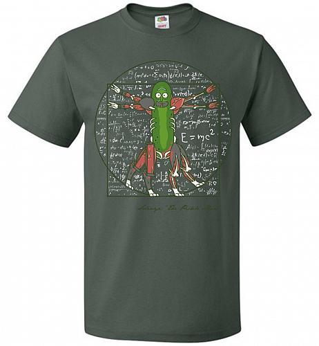 Vitruvian Pickle Rick Unisex T-Shirt Pop Culture Graphic Tee (L/Forest Green) Humor F