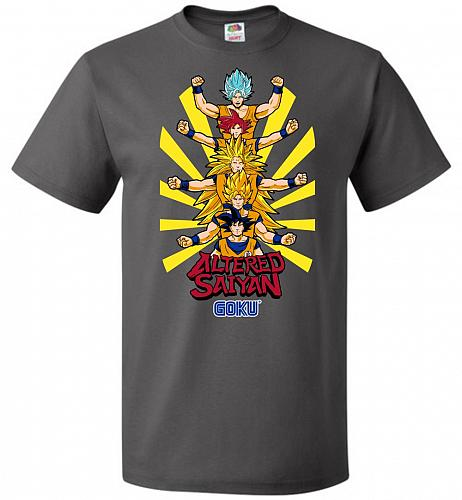 Altered Saiyan Unisex T-Shirt Pop Culture Graphic Tee (S/Charcoal Grey) Humor Funny N