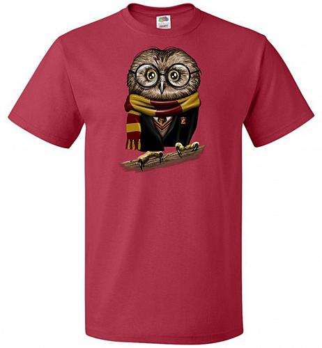 Owly Potter Unisex T-Shirt Pop Culture Graphic Tee (S/True Red) Humor Funny Nerdy Gee