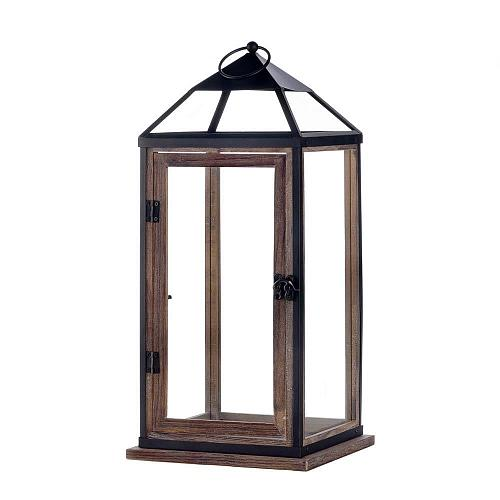 "*18143U - 18"" Wood Trim Black Iron Contemporary Pillar Candle Lantern Glass"