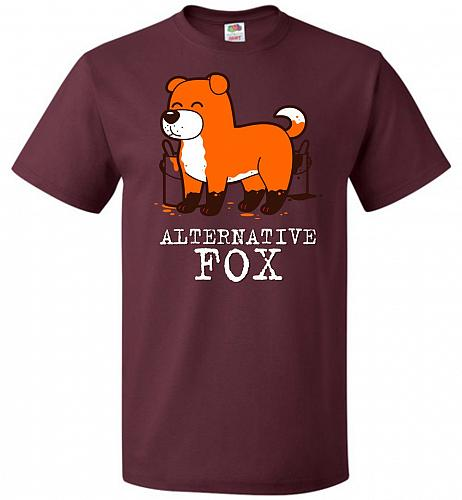 Alternative Fox Unisex T-Shirt Pop Culture Graphic Tee (4XL/Maroon) Humor Funny Nerdy